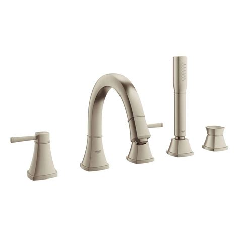 handheld bathtub faucet grohe grandera 2 handle deck mount roman tub faucet with personal hand shower in brushed nickel