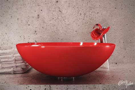 Modern Bath With Red Vessel Sink Interior Design Ideas
