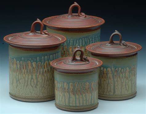 Handmade Pottery Canisters - stoneware canister set 3 wheel thrown canister set