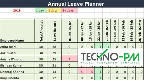annual leave planner   annual leave vacation calendar project management templates
