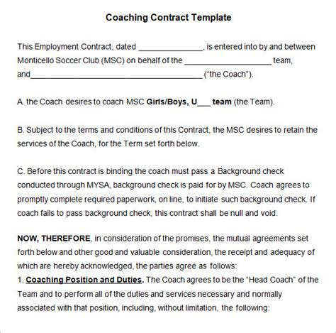 Business Coaching Contract Template coaching contract template 4 free word pdf documents