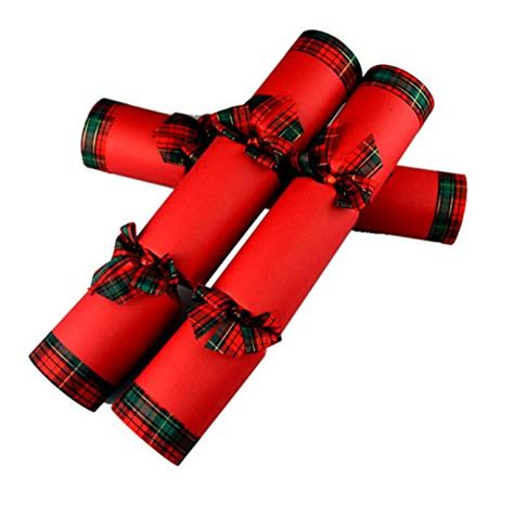6 hand made christmas crackers red tartan ultimate in
