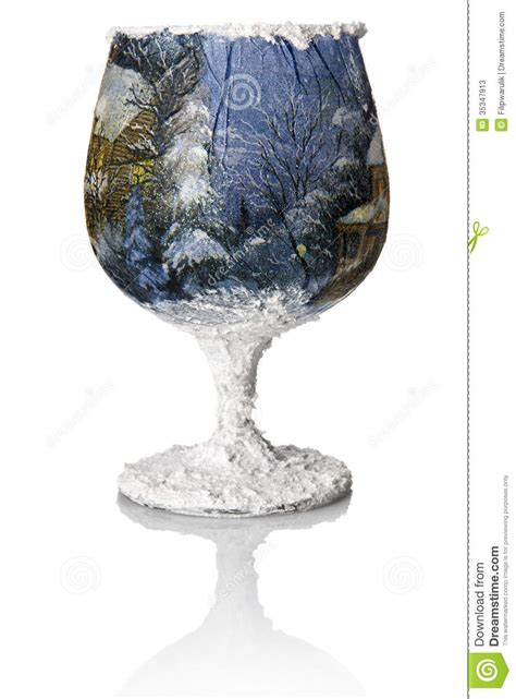 christmas decoupage   wine glass stock image image