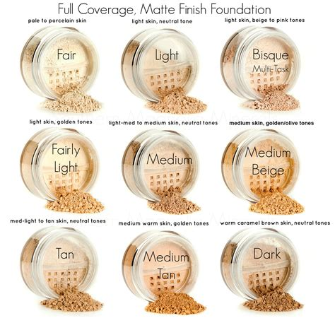 bare minerals foundation colors bare escentuals color chart foundation similiar