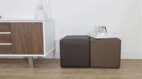 Brown Leather Cube Stool by Modern Cube Stool Commercial Seating Wearing
