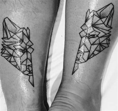 geometric tattoo couple top 100 best matching couple tattoos connected design ideas