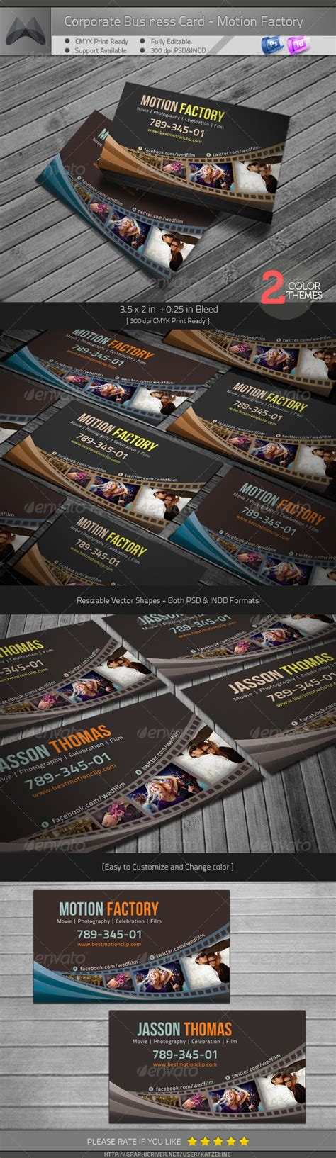 motion graphics business card template print template graphicriver motion factory business card