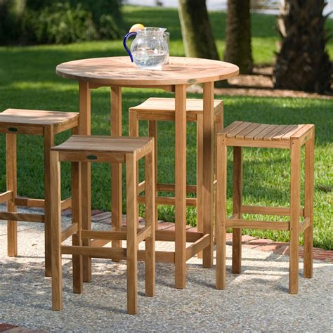 Outdoor Bar Table Set Teak Backless Bar Table Set Transitional Patio Orange County By Westminster Teak