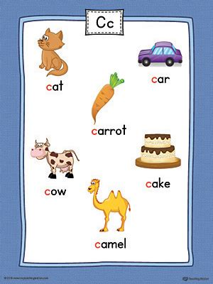 colors starting with c letter c word list with illustrations printable poster
