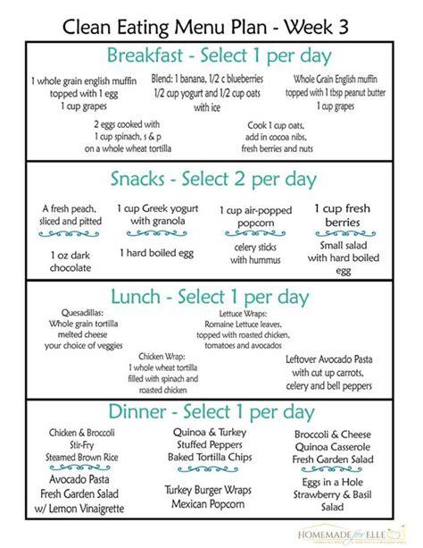 printable menu planner with snacks clean eating meal plan week 3 clean eating meal plan