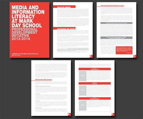 layout of ideal research report graphic design for media education lab by angelgu design