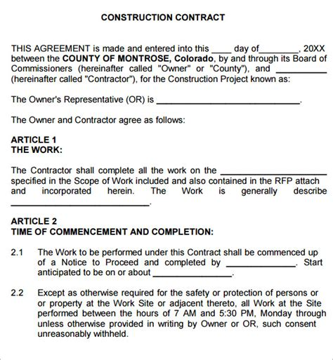 contract for contractors template construction contract 7 free pdf sle