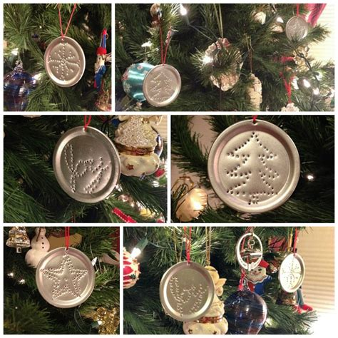 punched tin ornaments  recycled canning jar lids