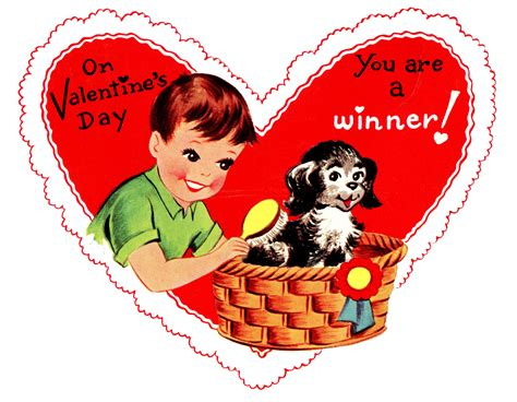 retro valentines graphic boy with pup the