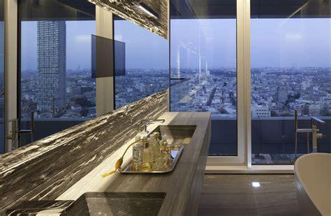 Bathroom Mirror, Glass Wall, City Views, Elegant Apartment