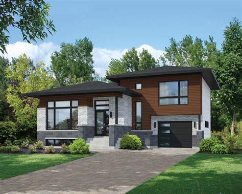 split plan house split level contemporary house plan 80789pm
