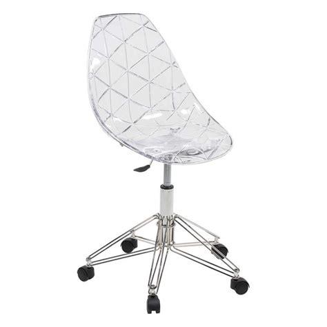 chaise de bureau transparente chaise design sur roulettes coque transparente et m 233 tal