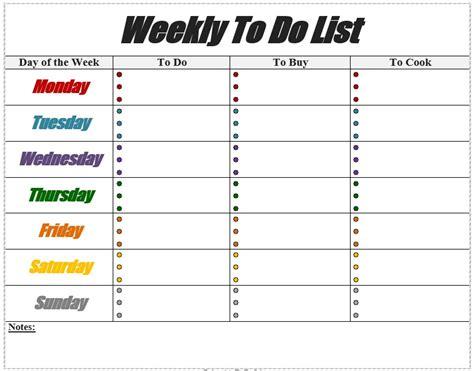 10 Free Sle Weekly To Do List Templates Printable Sles Weekly To Do List Template