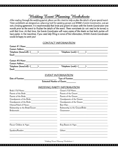wedding planning checklist worksheets 10 best images of cake wedding planning worksheet