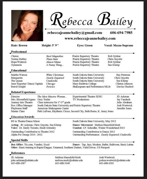Theatre Resume Template Word by Acting Resume Template 2017 Resume Builder