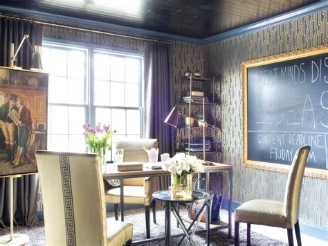 metallic home office makeover decorating and design