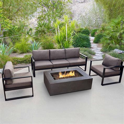 Real Flame Baltic 5 Person Outdoor Fire Pit Seating Set Outdoor Patio Furniture With Pit