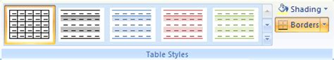 Change Table Style Word 2007 Chapter 10 Tables In Microsoft Word