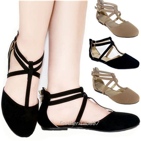 flat shoes with straps new ankle casual zipper slip on ballet flat
