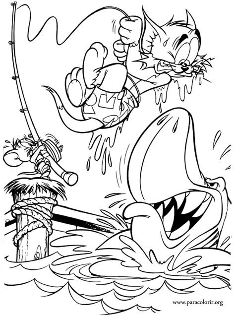 tom and jerry fishing with tom and jerry coloring page