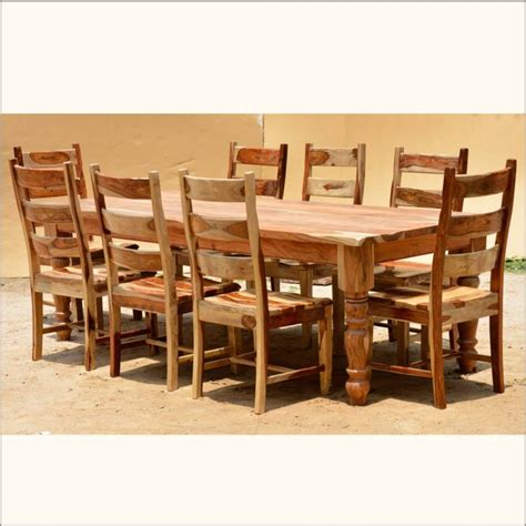 Solid Wood Dining Room Table And Chairs Furniture Brown Wooden Rectangle Dining Table With Six Chair With Modern Dining Table And