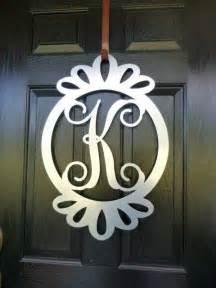 Front Door Monogram Letters Front Door Wreath Door Decorations Monogram Door Hanger