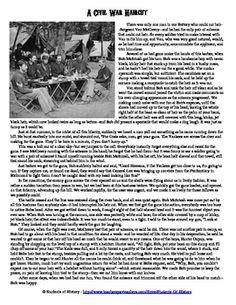 civil war 8th grade reading worksheets eighth grade reading comprehension worksheet harriet