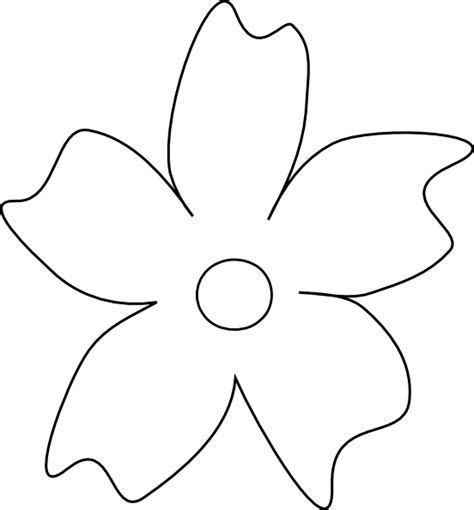flower template with 6 petals five petal flower template clipart best