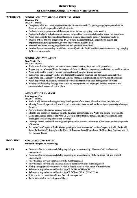Audit Analyst Sle Resume by Senior Analyst Audit Resume Sles Velvet