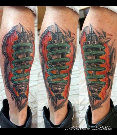 biomechanical tattoo letters biomechanical calf tattoo by nautilus tattoo gallery
