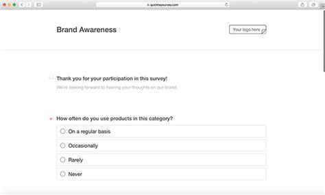 brand awareness survey template brand awareness survey template quicktapsurvey