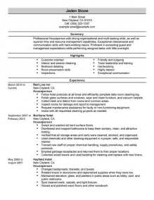 houseperson resume sle my resume