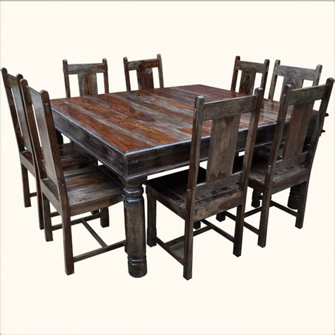 Large Solid Wood Square Dining Table Chair Set For 8 Square Dining Table With 8 Chairs