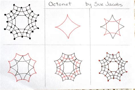 Easy Zentangle Pattern Ideas Step By Step | sue s tangle trips octonet tangle pattern