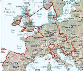 Map Of West Europe by Peace Pedalers Route Stage 2