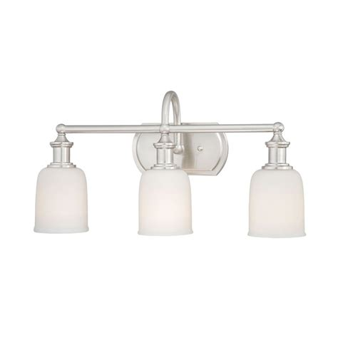 Polished Nickel Bathroom Lighting Shop Cascadia Lighting Elliot 3 Light 11 25 In Polished Nickel Bell Vanity Light At Lowes