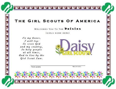 pin girl scout certificates printable free on pinterest