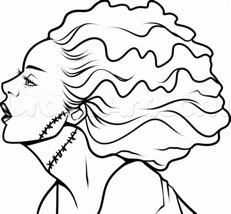 how to draw the bride of frankenstein step by step