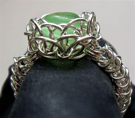 cadenas de oro raras green eye chainmaille ring accesorios pinterest