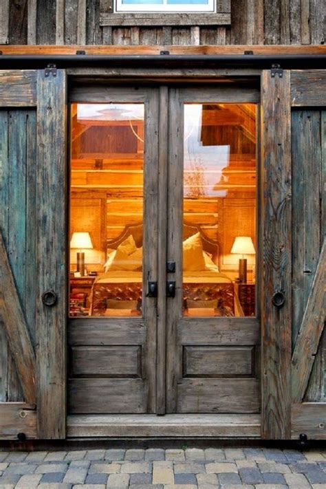 double wooden glass barn entry doors google search
