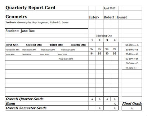 report card template excel 6 sle homeschool report cards sle templates