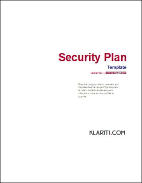 security plan template security plan ms word template instant