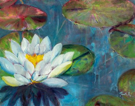 the mat of the artwork is rippled lotus flower pads impressionistic painting lotus