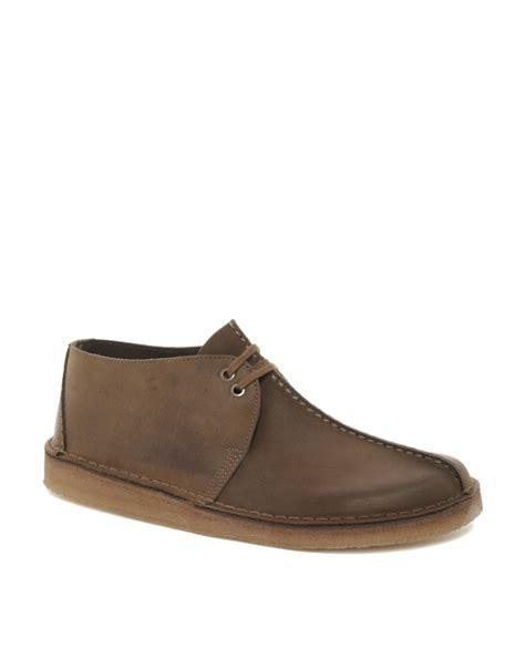 clarks desert trek leather shoes in brown for lyst