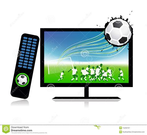 on tv football match on tv sports channel royalty free stock